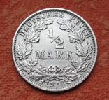 1/2 марки 1918 г. (G) Германия, серебро, фото №2