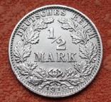 1/2 марки 1918 г. (G) Германия, серебро, фото №3