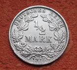 1/2 марки 1918 г. (G) Германия, серебро, фото №4