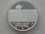 100 крон 2004 г. 100 лет Независимости Норвегия. Серебро. Футляр., фото №6