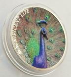 Острова Кука. Павлин. 5 долларов 2015 г. Рельефная монета (Копия), фото №3