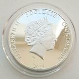 Острова Кука. Павлин. 5 долларов 2015 г. Рельефная монета (Копия), фото №4