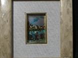 Картина миниатюра из серебра 800 с ручной росписью, фото №3