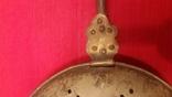 Винтажная грелка для согревания постели. Латунь, дерево. 100см. d-30см., фото №4