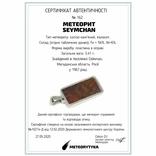 Кулон у формі прямокутника із залізо-камяним метеоритом Seymchan, з сертифікатом, фото №3