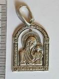 Иконка нательная Богородица. Серебро 925 проба., фото №2