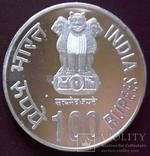 100   рупій  2003  року ІНДІЯ. Не магнітна, точна  копія,  посрібнення 999, фото №4