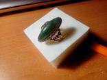 Перстень срібний СССР з ніфритом р.21 - 22, фото №2