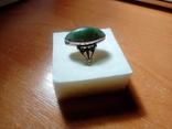Перстень срібний СССР з ніфритом р.21 - 22, фото №4