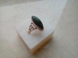 Перстень срібний СССР з ніфритом р.21 - 22, фото №8