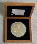Год Дракона - 5 унций / 155 грамм, серебро 999 ПОЗОЛОТА - , тираж 750 шт., фото №3