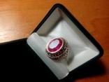 Срібний перстень СССР р. 18 з позолотою, фото №2
