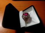Срібний перстень СССР р. 18 з позолотою, фото №3