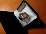 Срібний перстень СССР р. 18 з позолотою, фото №5