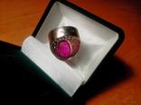Срібний перстень СССР р. 18 з позолотою, фото №6