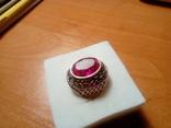 Срібний перстень СССР р. 18 з позолотою, фото №8