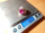 Срібний перстень СССР р. 18 з позолотою, фото №12