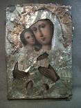 21Я14 Икона Богоматерь, Богородица, Матерь Божья, Спаситель. Дерево, масло, фольга, фото №5