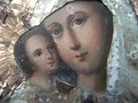 21Я14 Икона Богоматерь, Богородица, Матерь Божья, Спаситель. Дерево, масло, фольга, фото №8