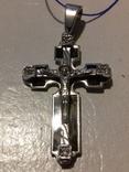 Крестик серебро с эмалями,925пр., фото №3