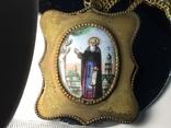 Икона Финифть Панагия 19 век Антоний Печерский, фото №2