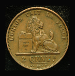 Бельгия 2 сантим 1875, фото №2