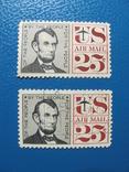 Авраам Линкольн, Авиапочта США, 2 марки, фото №2