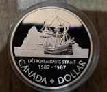 Канада 1 доллар 1987 г. Серебро. Третье плавание пирата Джона Дэвиса в 1587 году, фото №2