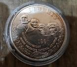 США 1 доллар 1991 г. Серебро. Золотой юбилей горы Рашмор., фото №2