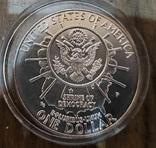 США 1 доллар 1991 г. Серебро. Золотой юбилей горы Рашмор., фото №3