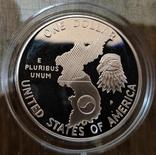 США 1 доллар 1991 г. Серебро. 38-летие окончания войны в Корее. Пруф, фото №3