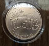 США 1 доллар 1991 г. 50-летие объединённой службы организации досуга войск.. Серебро., фото №2