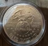 США 1 доллар 1991 г. 50-летие объединённой службы организации досуга войск.. Серебро., фото №3