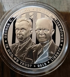 США 1 доллар 2013 г. Генералы Армии США. Маршалл, Эйзенхауэр. Серебро. Пруф, фото №2