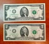 2 доллара США две банкноты сразу номера подряд фото 2