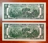 2 доллара США две банкноты сразу номера подряд
