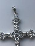 Хрестик з білого золота з камнями, фото №6