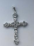 Хрестик з білого золота з камнями, фото №2