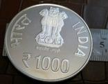1000 рупій 2015 року ІНДІЯ. Не магнітна, точна копія, посрібнення 999, фото №3