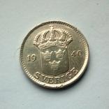 Швеция 25 эре 1940 г. - серебро, фото №4