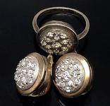 Кольцо, серьги, позолота, цирконы, фото №2
