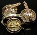 Кольцо, серьги, позолота, цирконы, фото №6