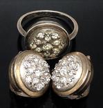 Кольцо, серьги, позолота, цирконы, фото №7