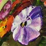 Картина Анютины глазки масло 40х50 см, фото №3