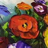 Картина Анютины глазки масло 40х50 см, фото №5