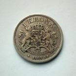 Швеция 1 крона 1907 г. - Оскар II - серебро, фото №3