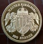 100 крон 1908 року Австро-Угорщина -репліка /-копія , поЗОЛОТА 999/ , магнітна, дзвенить, фото №3