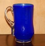 Кувшин-ваза толстое стекло кобальт, фото №2
