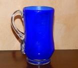 Кувшин-ваза толстое стекло кобальт, фото №3