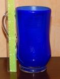 Кувшин-ваза толстое стекло кобальт, фото №5
